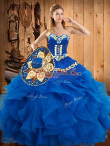 Sleeveless Floor Length Embroidery and Ruffles Lace Up Quinceanera Gowns with Blue