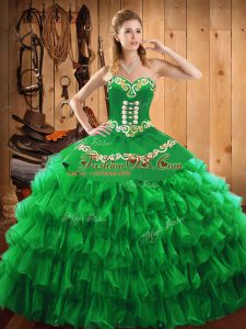 Green Sleeveless Satin and Organza Lace Up Sweet 16 Dresses for Military Ball and Sweet 16 and Quinceanera