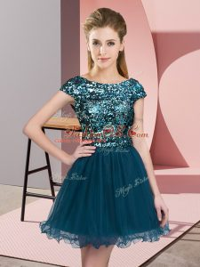 Teal Cap Sleeves Sequins Mini Length Dama Dress for Quinceanera
