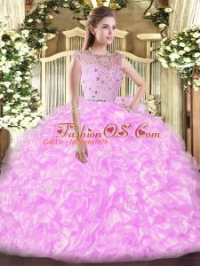 Floor Length Zipper Quinceanera Gown Lilac for Military Ball and Sweet 16 and Quinceanera with Beading and Ruffles