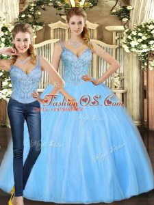 Baby Blue Lace Up Straps Beading 15th Birthday Dress Tulle Sleeveless