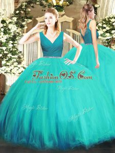 Customized Aqua Blue Zipper V-neck Beading Quince Ball Gowns Tulle Sleeveless