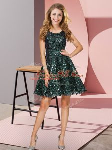 Sleeveless Sequined Mini Length Zipper Wedding Party Dress in Dark Green with Sequins