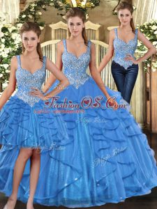Latest Floor Length Ball Gowns Sleeveless Aqua Blue Quinceanera Gown Lace Up