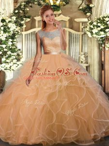 Lace and Ruffles and Sashes ribbons Quinceanera Gown Champagne Backless Sleeveless Floor Length