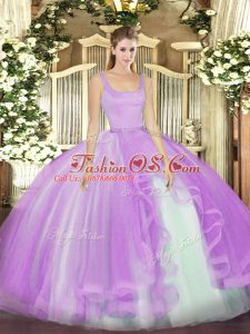 Beautiful Sleeveless Tulle Floor Length Zipper Quinceanera Gowns in Lavender with Beading