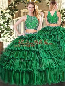 Shining Dark Green Sleeveless Floor Length Beading and Appliques and Ruffled Layers Zipper Sweet 16 Quinceanera Dress