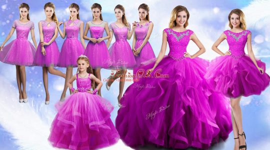 Decent Fuchsia Ball Gowns Scoop Sleeveless Organza Floor Length Lace Up Beading and Ruffles 15 Quinceanera Dress