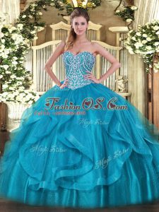 Baby Blue Organza Lace Up Sweet 16 Dresses Sleeveless Floor Length Beading and Ruffles