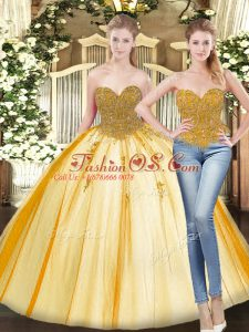 Stunning Sleeveless Tulle Floor Length Lace Up Ball Gown Prom Dress in Gold with Beading and Appliques