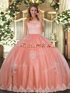 Graceful Tulle Sleeveless Floor Length 15 Quinceanera Dress and Lace and Appliques