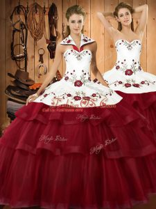 Wonderful Wine Red Halter Top Neckline Embroidery and Ruffled Layers Quinceanera Gown Sleeveless Lace Up