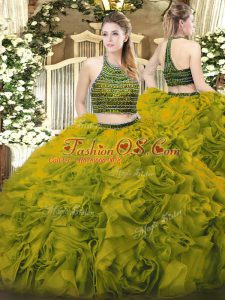 Cheap Halter Top Sleeveless Sweet 16 Quinceanera Dress Floor Length Beading and Ruffles Olive Green Tulle