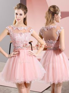 Shining Knee Length Baby Pink Quinceanera Dama Dress Scoop Sleeveless Side Zipper