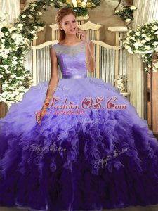 Multi-color Tulle Backless Quince Ball Gowns Sleeveless Floor Length Beading and Ruffles