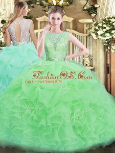 Scoop Sleeveless Organza Quince Ball Gowns Lace and Ruffles Backless