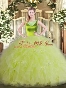 Yellow Green Sleeveless Beading and Ruffles Floor Length Sweet 16 Quinceanera Dress
