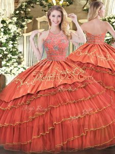 Rust Red Sleeveless Floor Length Beading and Embroidery and Ruffles Zipper Quinceanera Dresses