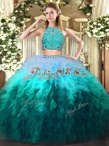 Traditional Beading and Ruffles Sweet 16 Quinceanera Dress Multi-color Zipper Sleeveless Floor Length