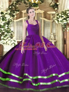 Lovely Straps Sleeveless Quince Ball Gowns Floor Length Ruffled Layers and Ruching Purple Organza