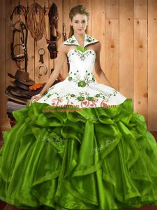 Charming Floor Length Olive Green Quinceanera Gowns Halter Top Sleeveless Lace Up