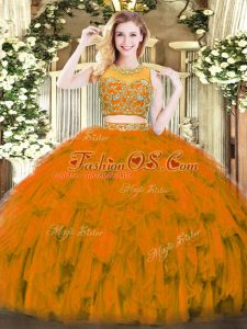 Amazing Rust Red Tulle Zipper Scoop Sleeveless Floor Length Ball Gown Prom Dress Beading and Ruffles