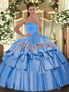 Fashionable Taffeta Sweetheart Sleeveless Lace Up Beading and Ruffled Layers 15 Quinceanera Dress in Baby Blue
