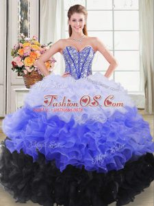 Ball Gowns 15th Birthday Dress Multi-color Sweetheart Organza Sleeveless Floor Length Lace Up