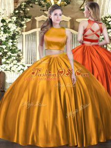 Customized Orange Sweet 16 Quinceanera Dress Military Ball and Sweet 16 and Quinceanera with Ruching High-neck Sleeveless Criss Cross
