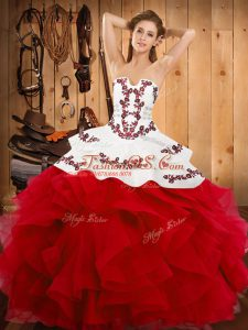 Graceful Embroidery and Ruffles Quinceanera Gown White And Red Lace Up Sleeveless Floor Length