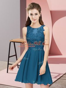 Best Mini Length Zipper Bridesmaid Dresses Teal for Prom and Party and Wedding Party with Appliques