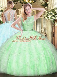 Fashionable Apple Green Sleeveless Lace and Ruffles Floor Length Sweet 16 Dresses