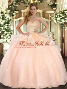 On Sale Peach Sleeveless Floor Length Beading and Ruffles Lace Up Quinceanera Dress