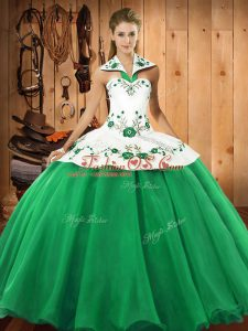 Trendy Green Lace Up Halter Top Embroidery 15th Birthday Dress Satin and Tulle Sleeveless