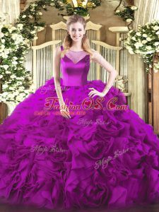 Best Fuchsia Ball Gowns Scoop Sleeveless Fabric With Rolling Flowers Floor Length Side Zipper Beading Quinceanera Gowns