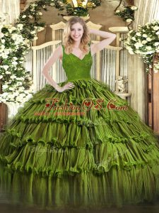 Enchanting Ball Gowns 15th Birthday Dress Olive Green V-neck Organza Sleeveless Floor Length Zipper