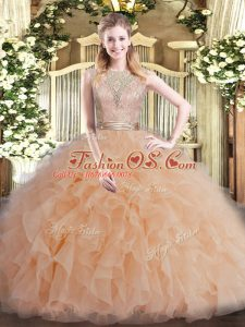 Luxury Champagne Sleeveless Tulle Backless 15 Quinceanera Dress for Military Ball and Sweet 16 and Quinceanera