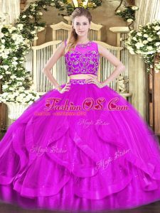 Free and Easy Tulle Sleeveless Floor Length Quinceanera Dresses and Beading and Ruffles