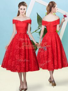 Red Bridesmaids Dress Prom and Party and Wedding Party with Bowknot Off The Shoulder Cap Sleeves Lace Up