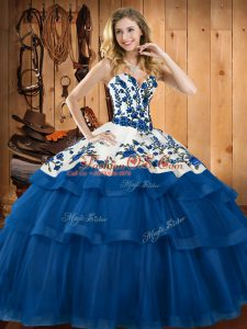 Cute Blue Organza Lace Up Sweetheart Sleeveless Quinceanera Dress Sweep Train Embroidery