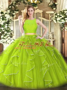 Colorful Yellow Green Zipper Scoop Lace and Ruffles Quince Ball Gowns Organza Sleeveless