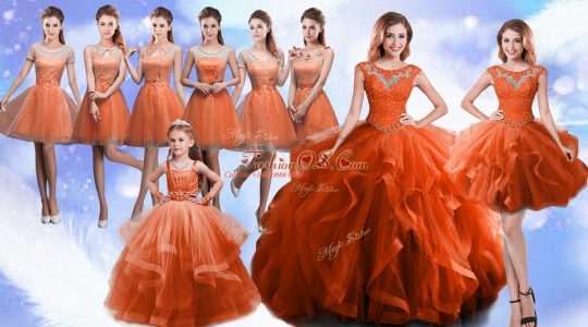 Rust Red Lace Up Scoop Beading and Ruffles 15th Birthday Dress Organza Sleeveless