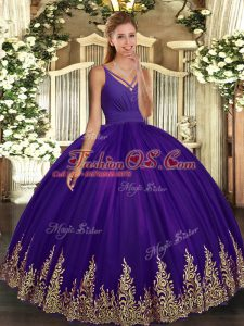 Sleeveless Tulle Floor Length Backless Quince Ball Gowns in Eggplant Purple with Appliques