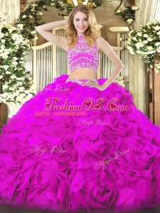 Stunning Fuchsia Tulle Backless Quinceanera Dress Sleeveless Floor Length Beading and Ruffles