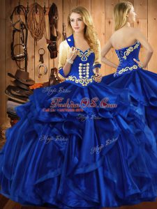 Cute Royal Blue 15th Birthday Dress Military Ball and Sweet 16 and Quinceanera with Embroidery and Ruffles Sweetheart Sleeveless Lace Up