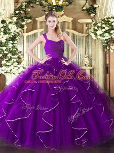 Excellent Eggplant Purple Sleeveless Floor Length Ruffles Zipper Sweet 16 Dress