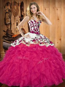 Perfect Tulle Sweetheart Sleeveless Lace Up Embroidery and Ruffles Quince Ball Gowns in Hot Pink