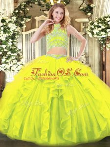 Beautiful Sleeveless Tulle Floor Length Backless 15 Quinceanera Dress in Yellow Green with Beading and Ruffles