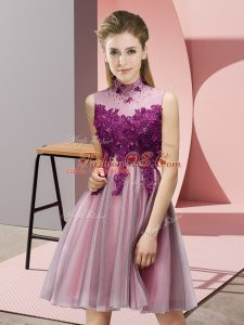 High Quality Sleeveless Mini Length Appliques Lace Up Wedding Party Dress with Baby Pink