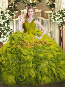 Best Sleeveless Floor Length Ruffles Zipper Quinceanera Gown with Olive Green